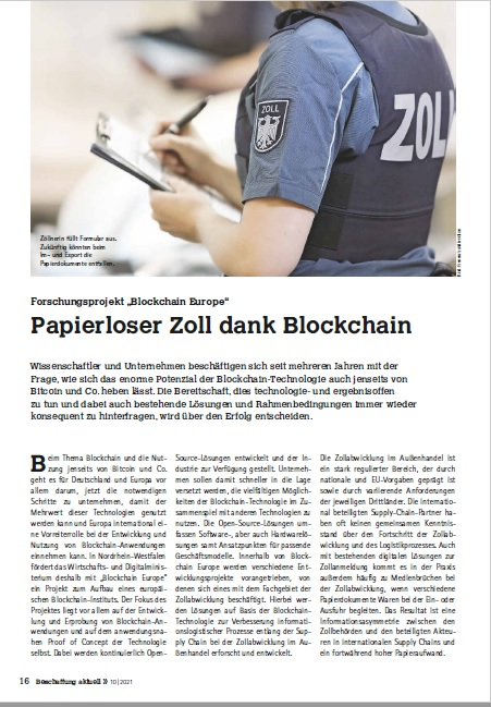 Cover Blockchain Technology - Integration in Supply Chain Processes